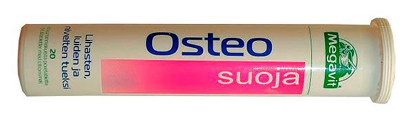 Megavit Osteo Suoja - витамины из Финляндии, в каждой шипучей таблетке которых содержатся аскорбиновая кислота, витамин В5, Д, кальций и магний.